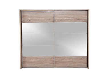 Laguna 2 Door Slider Wardrobe 260cm in Lt Rustic Oak/Mirrors on Furniture Village