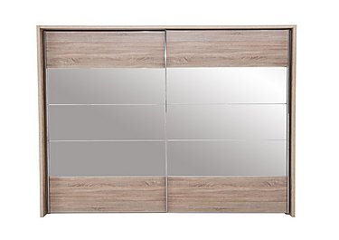 Laguna 2 Door Slider Wardrobe 310cm in Lt Rustic Oak/Mirrors on Furniture Village