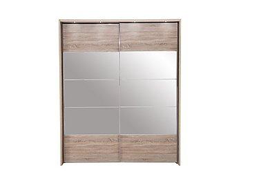 Laguna 2 Door Slider Wardrobe With Lights 210cm in Lt Rustic Oak/Mirrors on Furniture Village