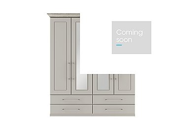 Eaton 4 Door 4 Drawer Centre Mirror Wardrobe in Ezgv Soft Gry-Arizona Lght Gry on Furniture Village