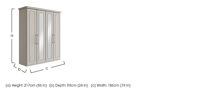 Eaton 4 Door Centre Mirror Wardrobe in  on Furniture Village