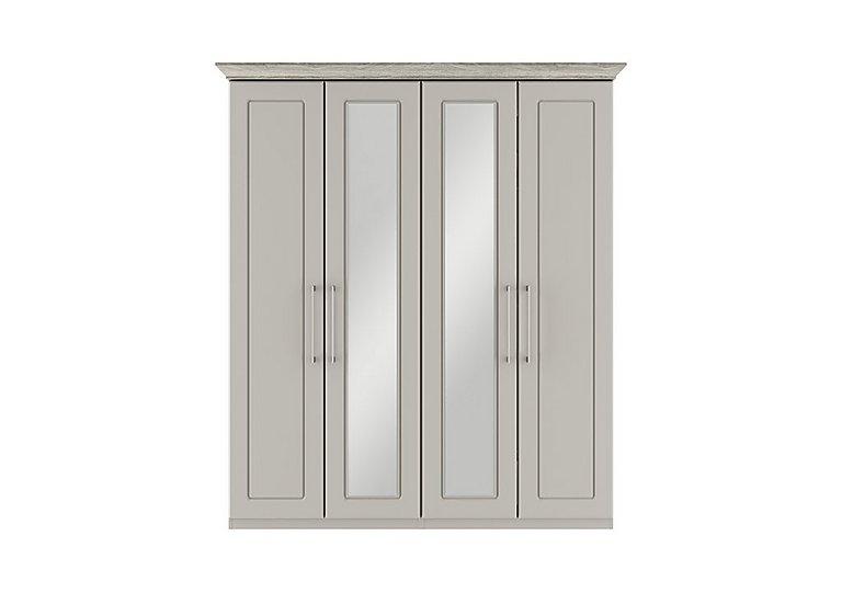 Eaton 4 Door Centre Mirror Wardrobe in Ezgv Soft Gry-Arizona Lght Gry on Furniture Village