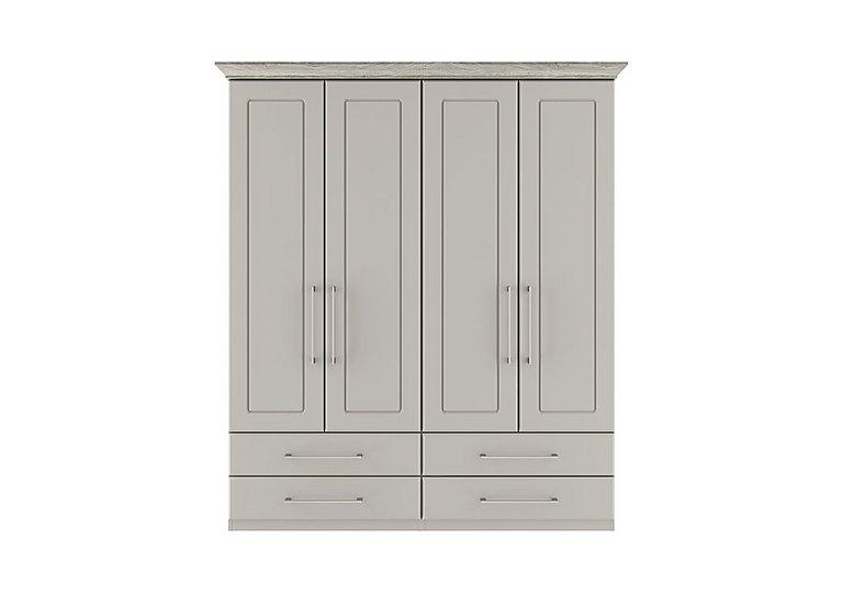 Eaton 4 Door 4 Drawer Wardrobe in Ezgv Soft Gry-Arizona Lght Gry on Furniture Village