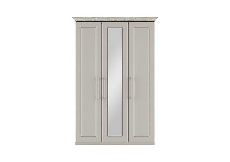Eaton 3 Door Centre Mirror Wardrobe in Ezgv Soft Gry-Arizona Lght Gry on Furniture Village