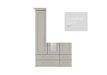 Eaton 3 Door 4 Drawer Centre Mirror Wardrobe in Ezgv Soft Gry-Arizona Lght Gry on Furniture Village