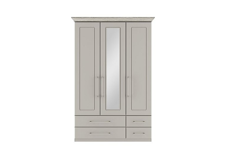 Eaton 3 Door 4 Drawer Centre Mirror Wardrobe in Ezgv Soft Gry-Arizona Lght Gry on Furniture Village