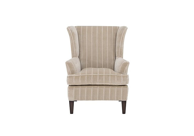 Fitzroy Fabric Wing Chair in 94966-02 Bless Stripe Sand on Furniture Village