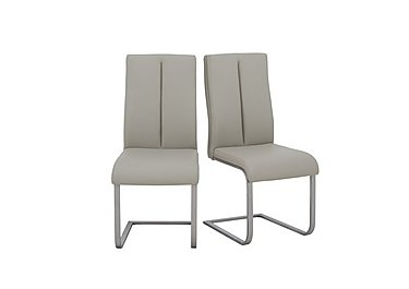 Moda Pair of Faux Leather Dining Chairs in Cream on Furniture Village