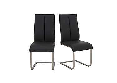 Moda Pair of Faux Leather Dining Chairs in Grey on Furniture Village