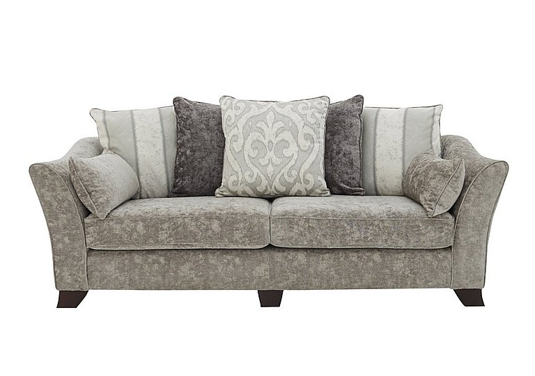 Annalise II 4 Seater Fabric Pillow Back Sofa in Crombie Plain Truffle Opt1 Dk on Furniture Village