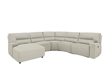 Eden Leather Recliner Corner Sofa in Bv-946b Silver Grey on Furniture Village