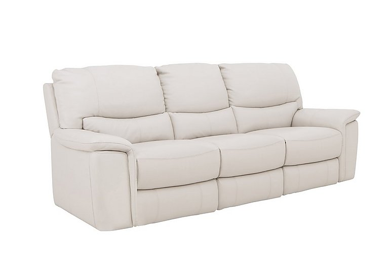 Relax Station Bliss 3 Seater Leather Recliner Sofa in Nc-156e Frost on Furniture Village
