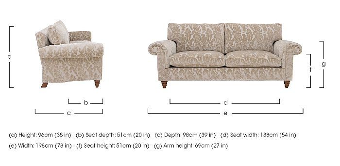 The Prestige Collection Knightsbridge 3 Seater Fabric Sofa in  on Furniture Village