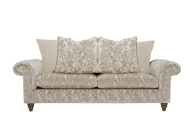 The Prestige Collection Knightsbridge 3 Seater Fabric Pillow Back Sofa in 94965-02 Blessington Sand on Furniture Village