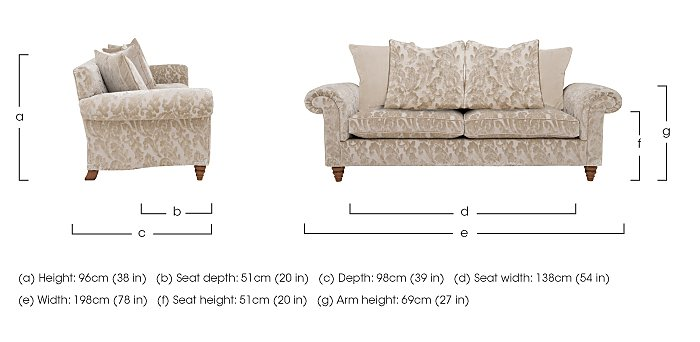 The Prestige Collection Knightsbridge 3 Seater Fabric Pillow Back Sofa in  on Furniture Village