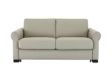 Alcova 2 Seater Leather Sofa Bed with Scroll Arms in 857 Tortora on Furniture Village