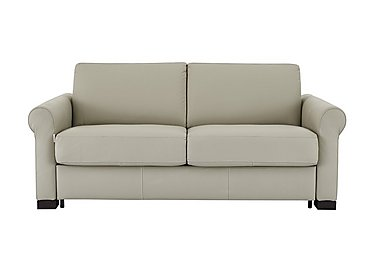 Alcova 2.5 Seater Leather Sofa Bed with Scroll Arms in 857 Tortora on Furniture Village