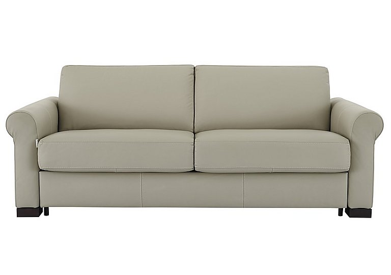 Alcova 3 Seater Leather Sofa Bed with Scroll Arms in 857 Tortora on Furniture Village