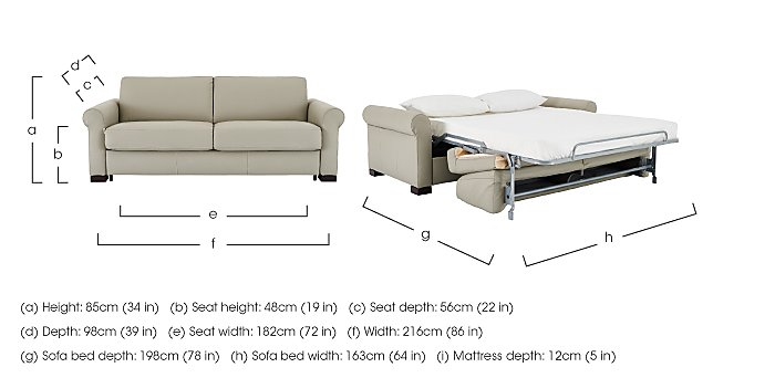 Alcova 3 Seater Leather Sofa Bed with Scroll Arms in  on Furniture Village