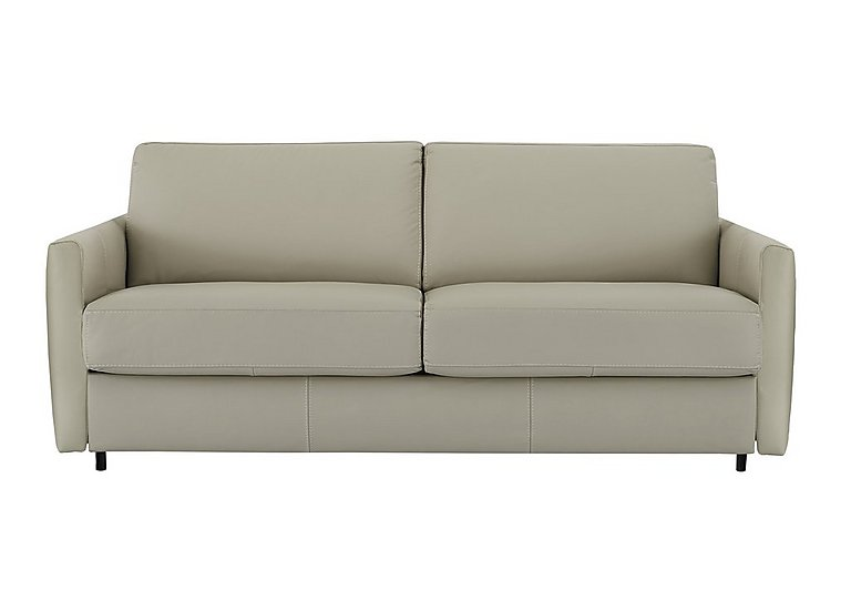 Alcova 3 Seater Leather Sofa Bed with Slim Arms in 857 Tortora on Furniture Village