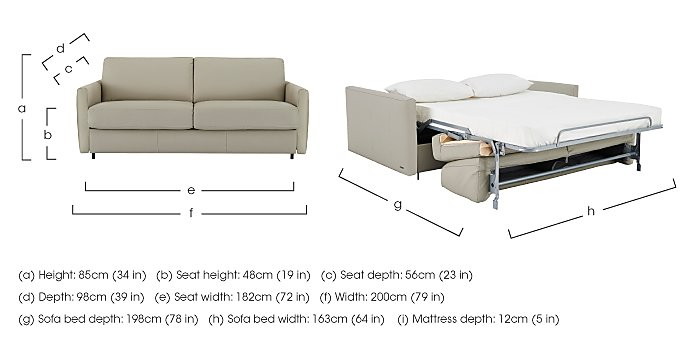 Alcova 3 Seater Leather Sofa Bed with Slim Arms in  on Furniture Village