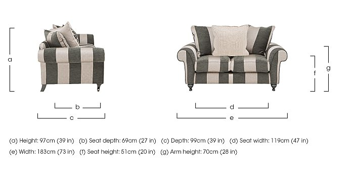 Wellington 2 Seater Pillow Back Fabric Sofa in  on Furniture Village