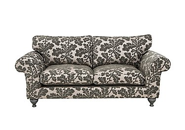 Wellington 3 Seater Fabric Sofa in Altan Floral Steel - Smoke on Furniture Village