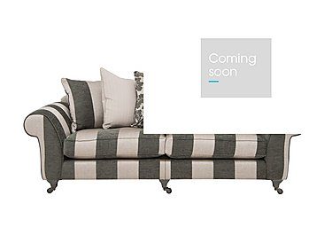 Wellington 4 Seater Split Frame Pillow Back Fabric Sofa in Altan Stripe Steel - Sm/Nc on Furniture Village