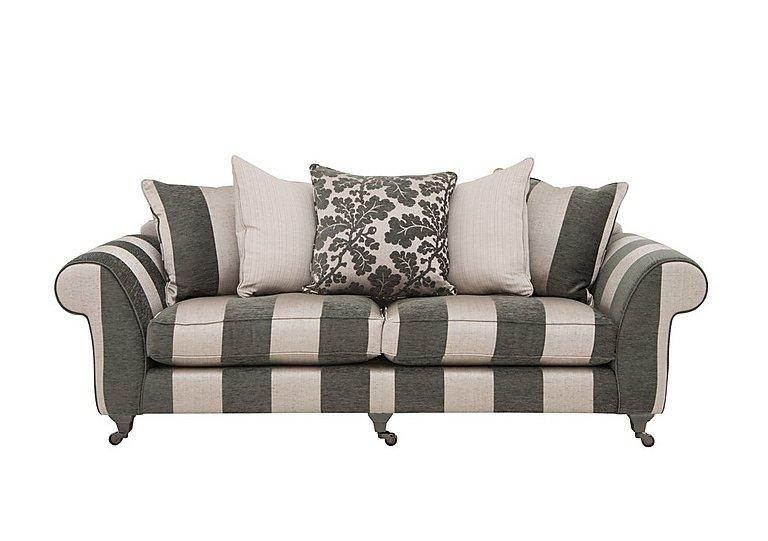Wellington 4 Seater Pillow Back Fabric Sofa in Altan Stripe Steel - Sm/Nc on Furniture Village