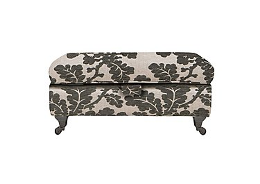 Wellington Large Fabric Storage Stool in Altan Floral Steel - Sm/Nc on Furniture Village