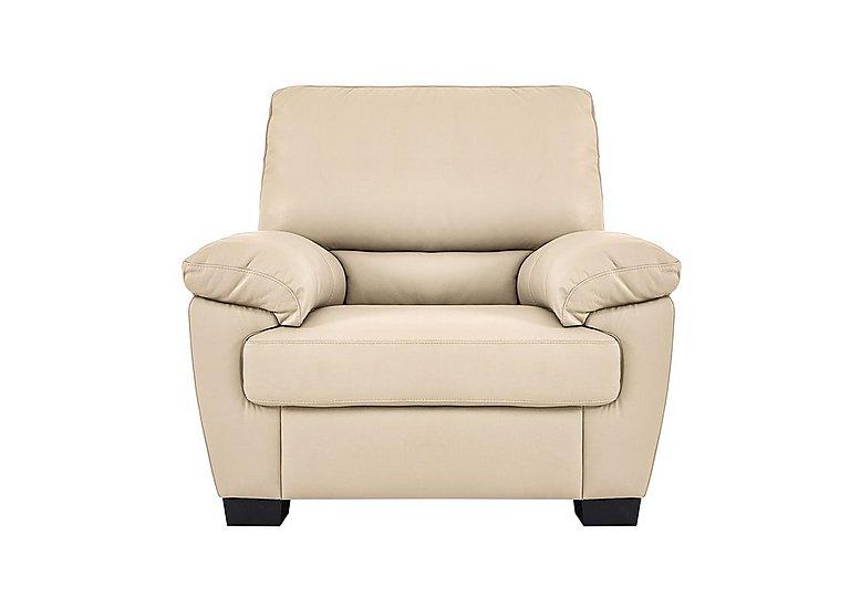Alvera Leather Recliner Armchair - Only One Left! in Denver 10bf Sg Rose Beige on Furniture Village