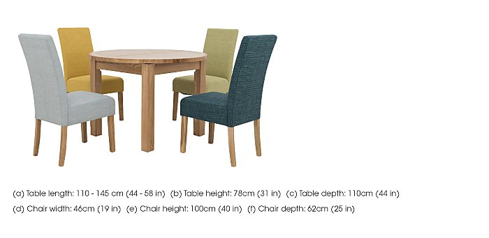California Extending Round Dining Table and 4 Fabric Dining Chairs in  on Furniture Village