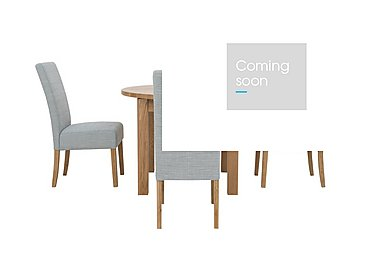 California Extending Round Dining Table and 4 Fabric Dining Chairs in Glacier on Furniture Village