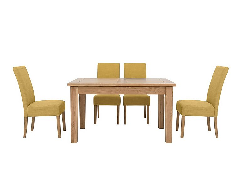 California Extending Rectangle Dining Table and 4 Fabric Dining Chairs in Ochre on Furniture Village