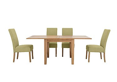 California Extending Flip Top Dining Table and 4 Fabric Dining Chairs in Sage on Furniture Village