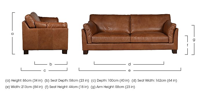 Hillcroft 3 Seater Leather Sofa in  on Furniture Village