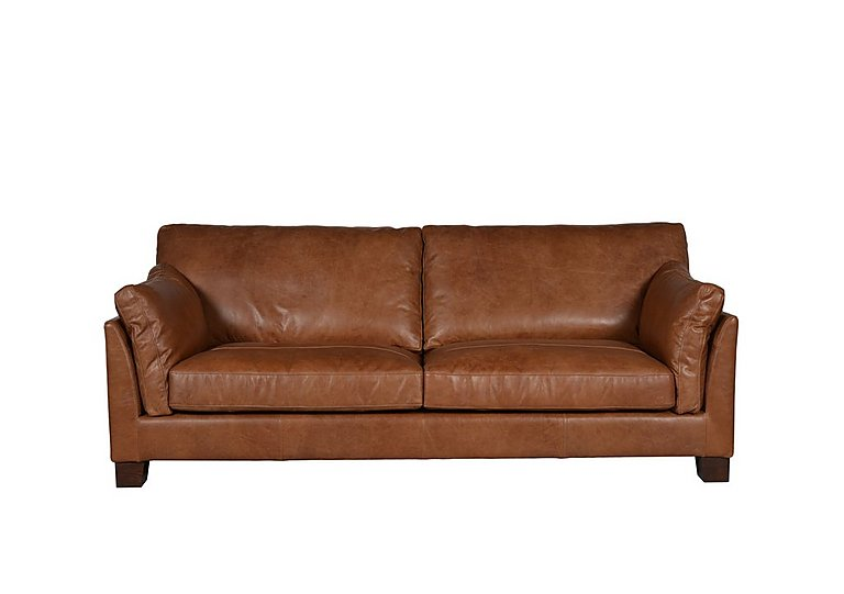 Hillcroft 3 Seater Leather Sofa in Riders Nut Ao on Furniture Village