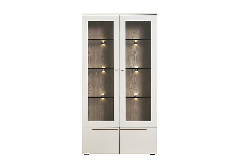 Junction Tall Double Display Unit – Including Lights in Light Grey/Natural Oak on Furniture Village