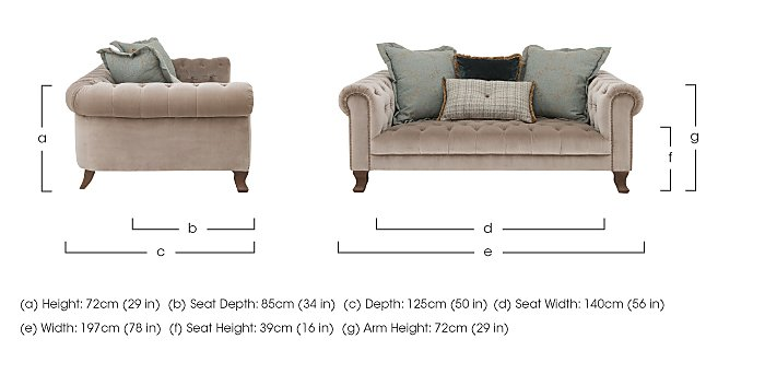 New England Hampton 3 Seater Fabric Pillow Back Sofa in  on Furniture Village