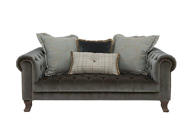 New England Hampton 3 Seater Fabric Pillow Back Sofa in Cabin Velvet Boot Opt1 Dk on Furniture Village