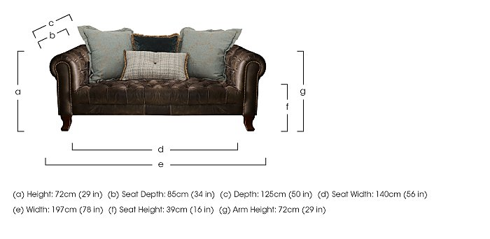 New England Hampton 3 Seater Leather Pillow Back Sofa in  on Furniture Village