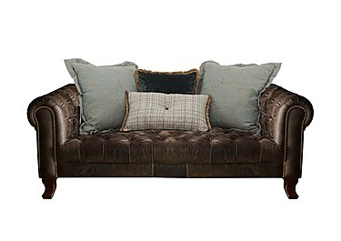 New England Hampton 3 Seater Leather Pillow Back Sofa in Cal Smoke Opt1 Dk on Furniture Village