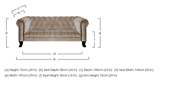 New England Hampton 3 Seater Fabric Sofa in  on Furniture Village