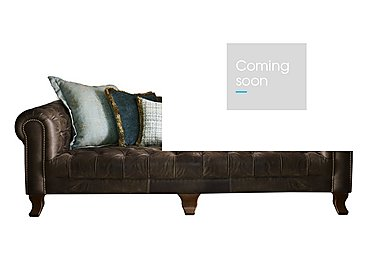 New England Hampton 4 Seater Leather Pillow Back Sofa in Cal Smoke Opt1 Dk on Furniture Village