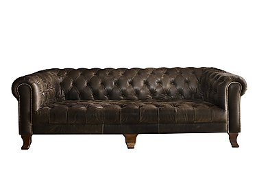 New England Hampton 4 Seater Leather Sofa in Cal Smoke Dk on Furniture Village