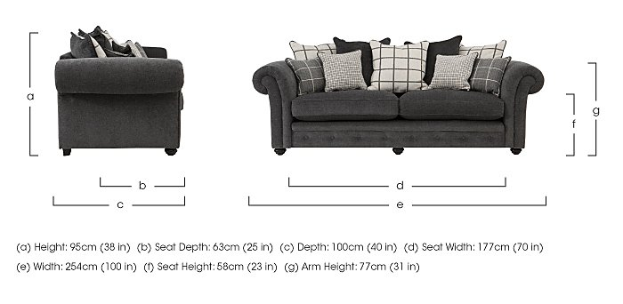 Islington 4 Seater Fabric Pillow Back Sofa in  on Furniture Village