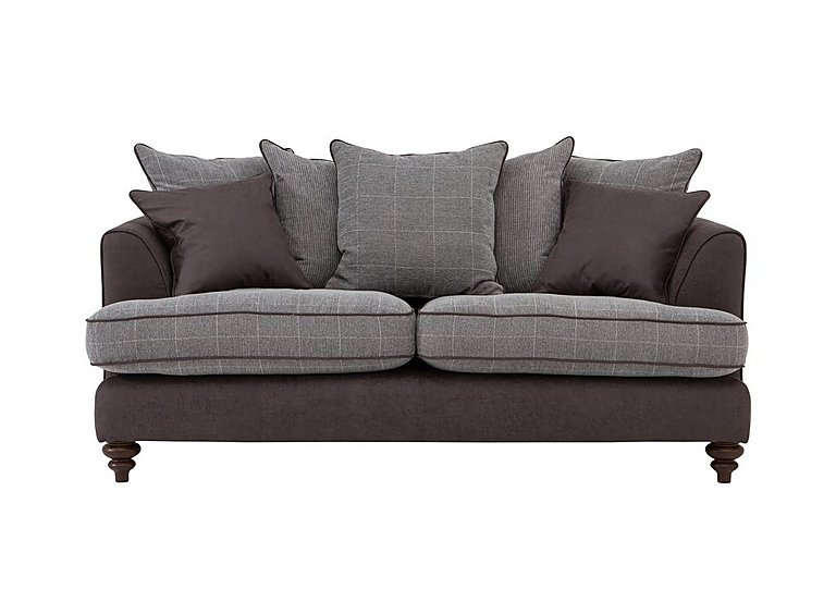 Ayr 3 Seater Pillow Back Fabric Sofa in Charcoal on Furniture Village