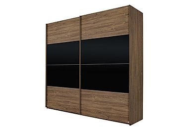 Melbourne 225cm 2 Door Sliding Wardrobe in Sterling Oak/High Gloss Black on Furniture Village