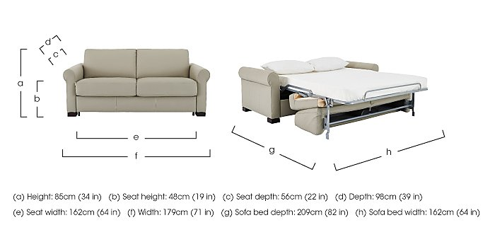 Alcova 2.5 Seater Leather Sofa Bed with Scroll Arms - Only One Left! in  on Furniture Village