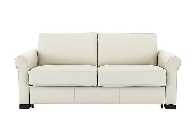 Alcova 2.5 Seater Leather Sofa Bed with Scroll Arms - Only One Left! in Bianco on Furniture Village